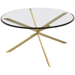 Holmby mid century style bronze and glass dining table