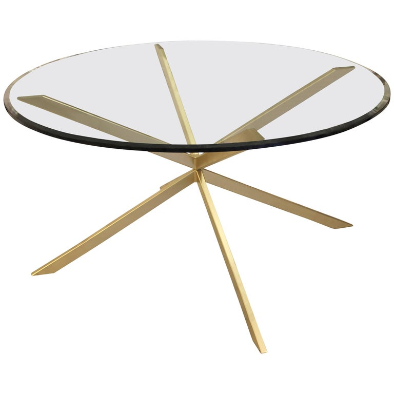 Holmby mid century style bronze and glass dining table For Sale