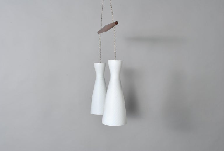 Holmegaard Dual Drop Pendant Light, Midcentury Danish In Good Condition For Sale In London, GB