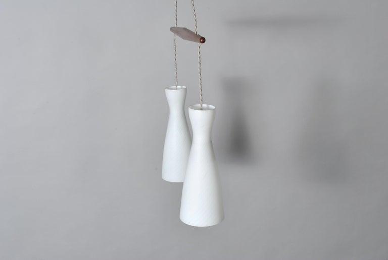 20th Century Holmegaard Dual Drop Pendant Light, Midcentury Danish For Sale