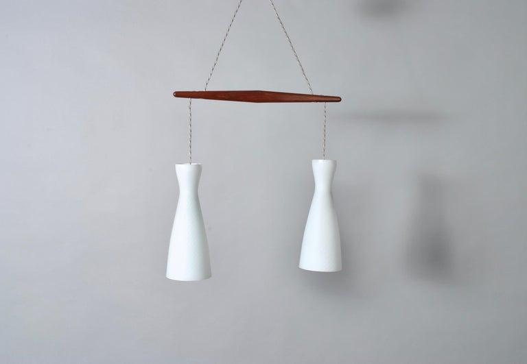Glass Holmegaard Dual Drop Pendant Light, Midcentury Danish For Sale