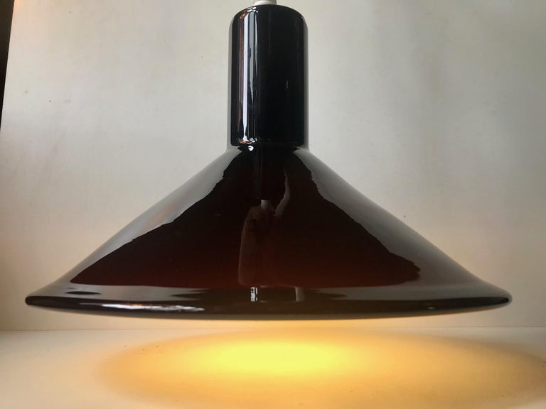 Scandinavian Modern Holmegaard P&T Pendant Light in Aubergine Glass by Michael Bang, 1970s For Sale