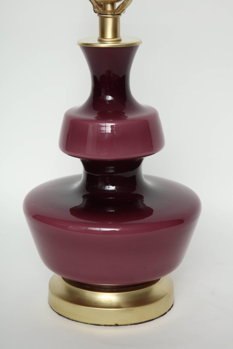 Holmegaard Raspberry Glass Lamps In Excellent Condition For Sale In New York, NY