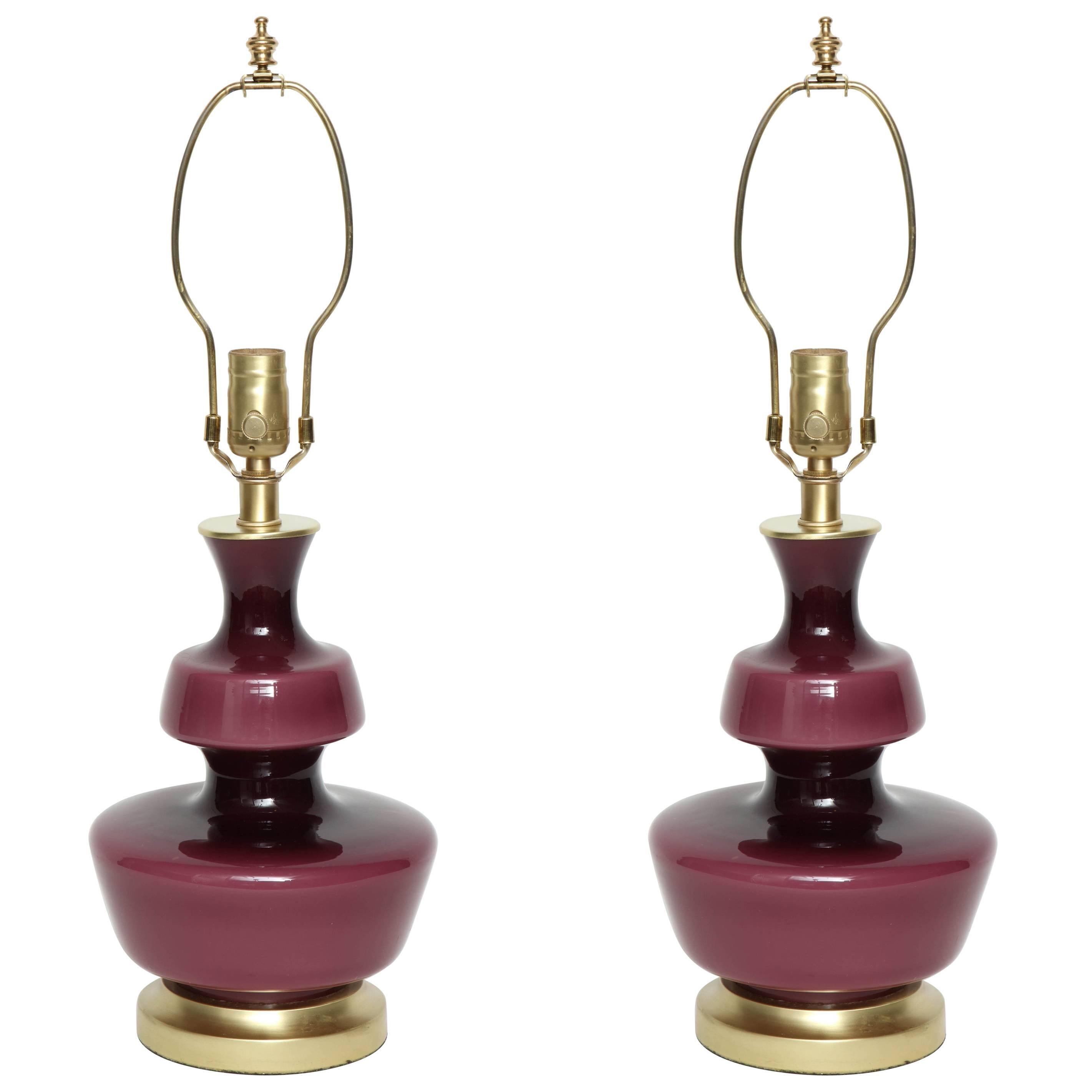 Holmegaard Raspberry Glass Lamps