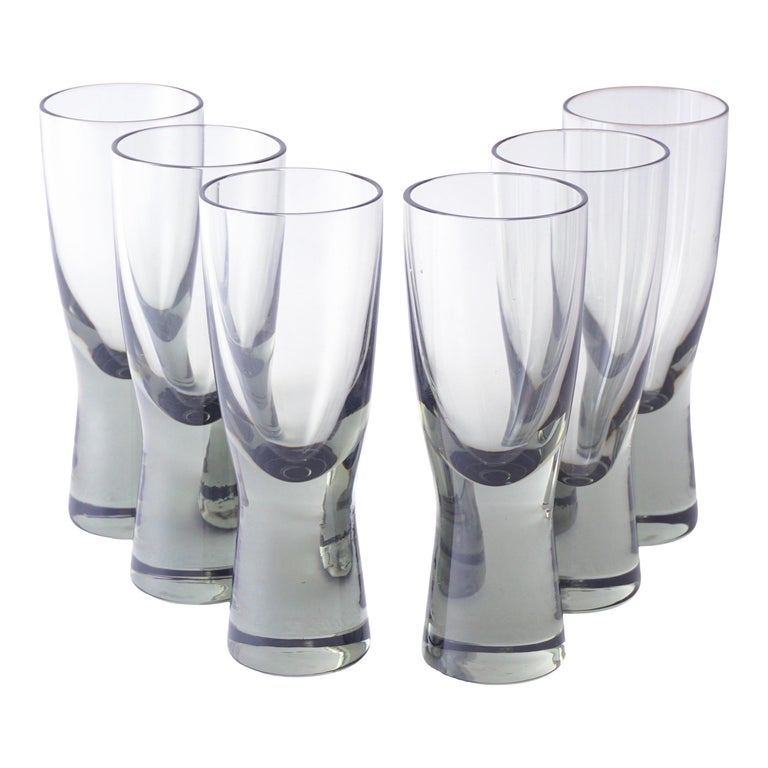 Holmegaard Small Smoked Hand Blown Shot Glasses, Set of 6, Mid-Century Modern For Sale