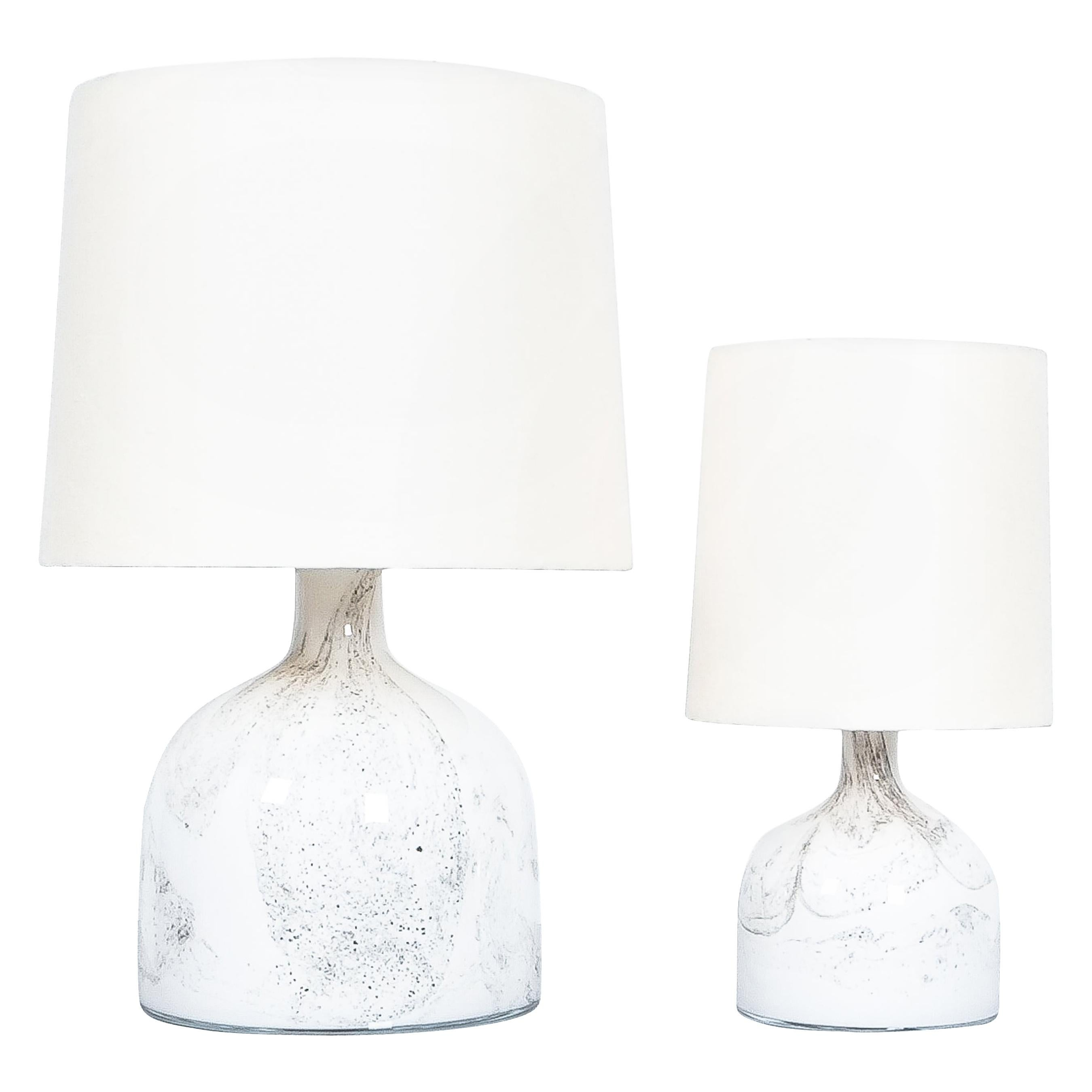 Holmegaard Table Lamps Glass by Michael Bang Denmark, circa 1980