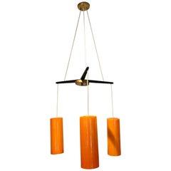 Holmegaard drei Leuchten Kronleuchter in Orange