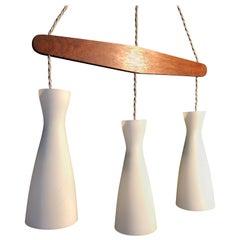 Holmegaard Triple Pendant Light, Midcentury Danish