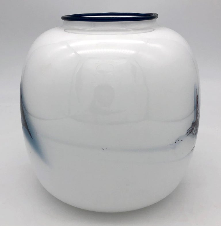Modern Holmegaard Michael Bang Atlantic Series Vintage Abstract Glass Vase, Denmark For Sale