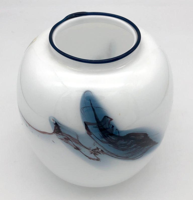 Danish Holmegaard Michael Bang Atlantic Series Vintage Abstract Glass Vase, Denmark For Sale
