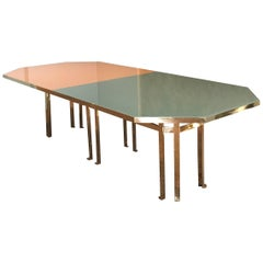 21st Century Filippo Feroldi Brass Table 280 Glass Top Various Colors