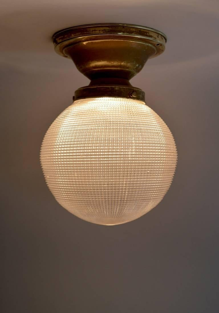 Holophane Ball Fixture Chandelier In Good Condition For Sale In New York, NY