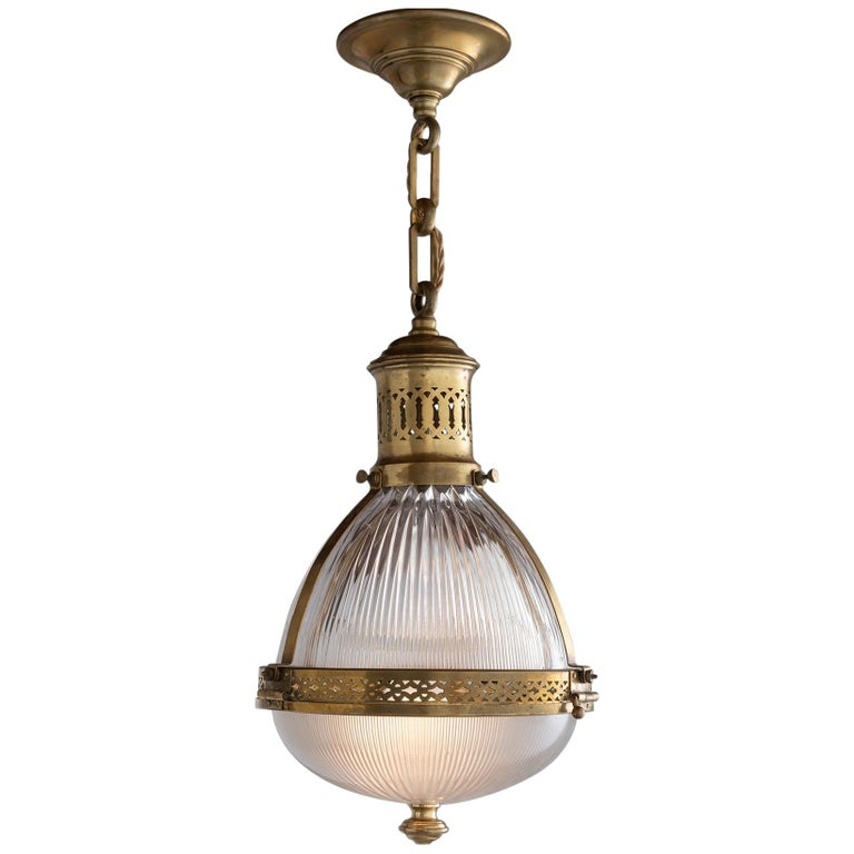 Holophane Brass Pendant, France, circa 1930 For Sale