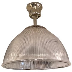 Holophane Glass Pendant with Polished Nickel Mounts