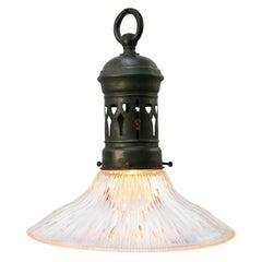 Holophane Glass Vintage Industrial Brass Top Pendant Light