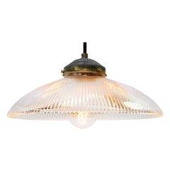 Holophane Glass Vintage Industrial Hanging Light Pendant