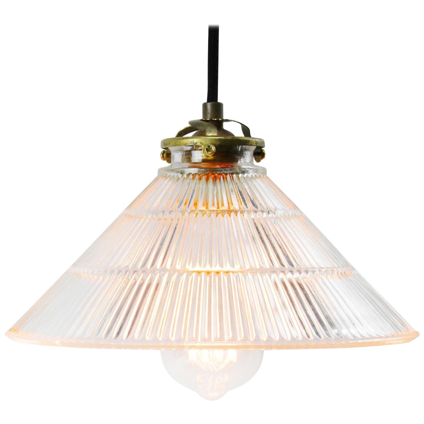 Holophane Glass Vintage Industrial Pendant Lights