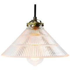 Holophane Glass Vintage Industrial Hanging Light Pendant