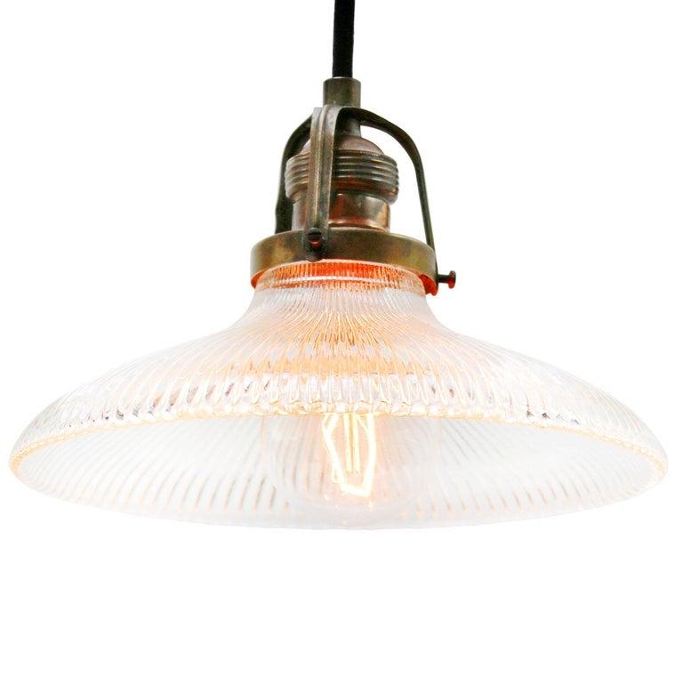 American Holophane Glass Vintage Industrial Hanging Light Pendants For Sale