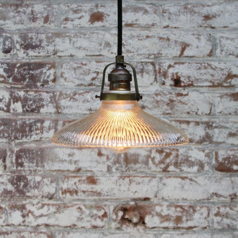 Holophane Glass Vintage Industrial Hanging Light Pendants In Good Condition For Sale In Amsterdam, NL