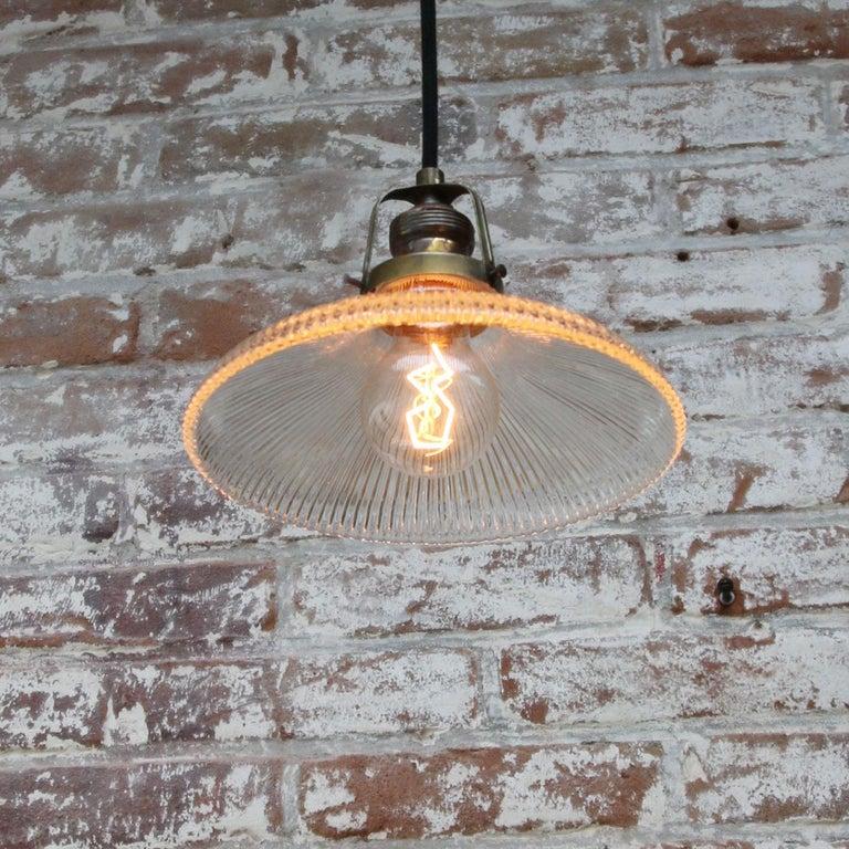 20th Century Holophane Glass Vintage Industrial Hanging Light Pendants For Sale