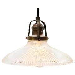 Holophane Glass Vintage Industrial Hanging Light Pendants