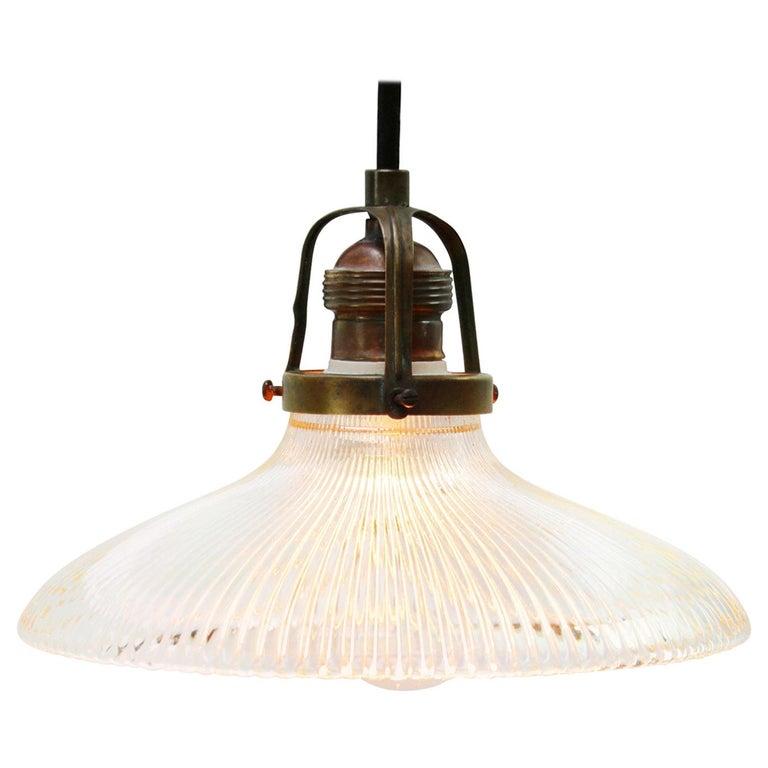 Holophane Glass Vintage Industrial Hanging Light Pendants For Sale