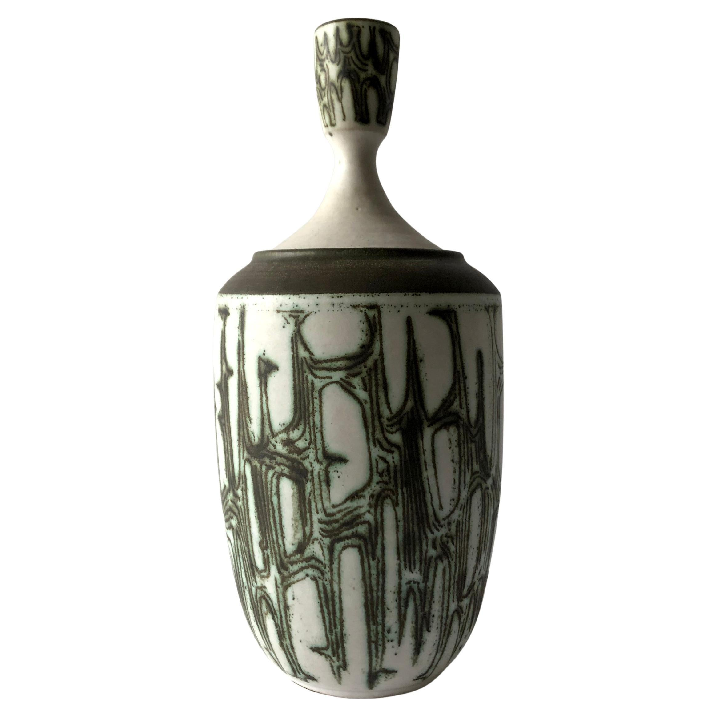 Holstrom Stoneware Modernist Studio Lidded Vessel