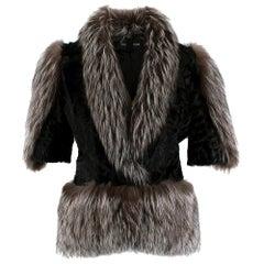 Holt Renfrew Astrakhan & Racoon Fur Jacket S