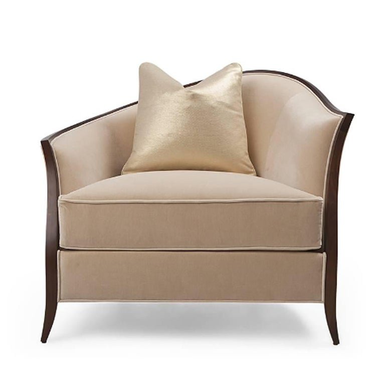Contemporary Holton Left Armchair or Right in Solid Veneered Mahogany For Sale