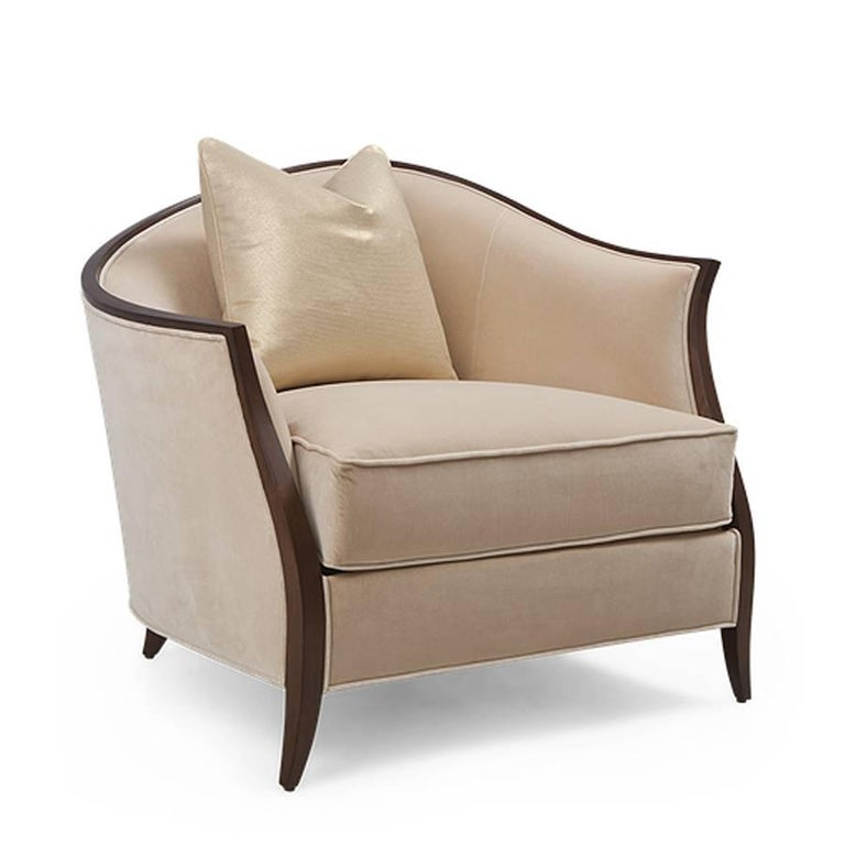 Fabric Holton Left Armchair or Right in Solid Veneered Mahogany For Sale