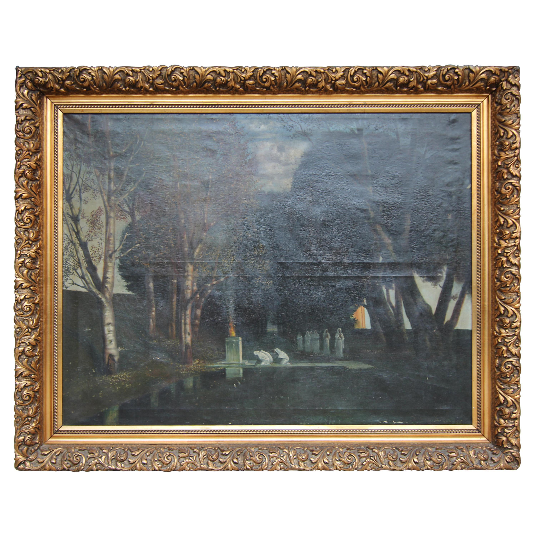 Holy Grove, Der Heilige Hain after Arnold Böcklin, Framed Painting Oil on Canvas