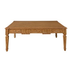 Holy Hunt Transitional Carved Solid Oak Cocktail Table