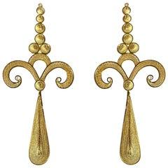Holystone Filigree Lozen Earrings in 18 Karat Gold Vermeil