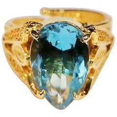 Holystone Indira Blue Topaz Ring with 5.6 Carat Blue Topaz in 18K Gold Vermeil