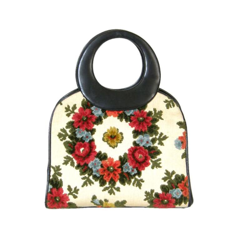 Holzman Tapestry Handbag with Round Black Leather Handles