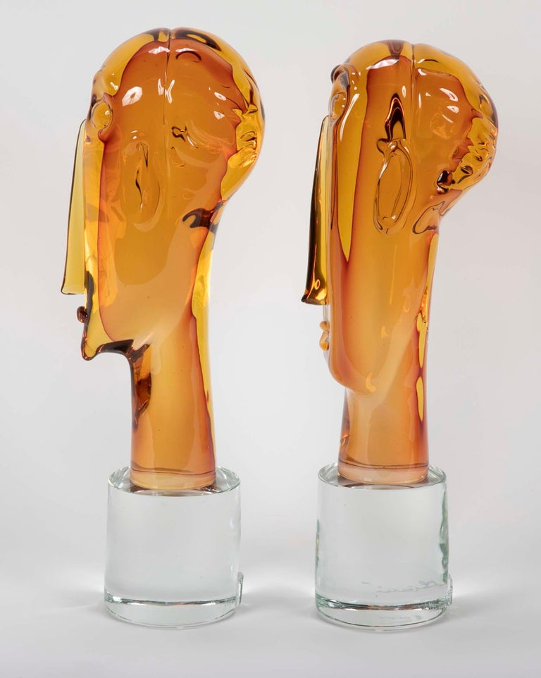 Homage to Amedeo Modigliani Pair of Murano Glass Figures  In Good Condition For Sale In Stamford, CT