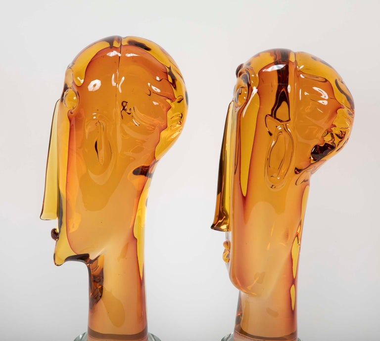 Contemporary Homage to Amedeo Modigliani Pair of Murano Glass Figures  For Sale