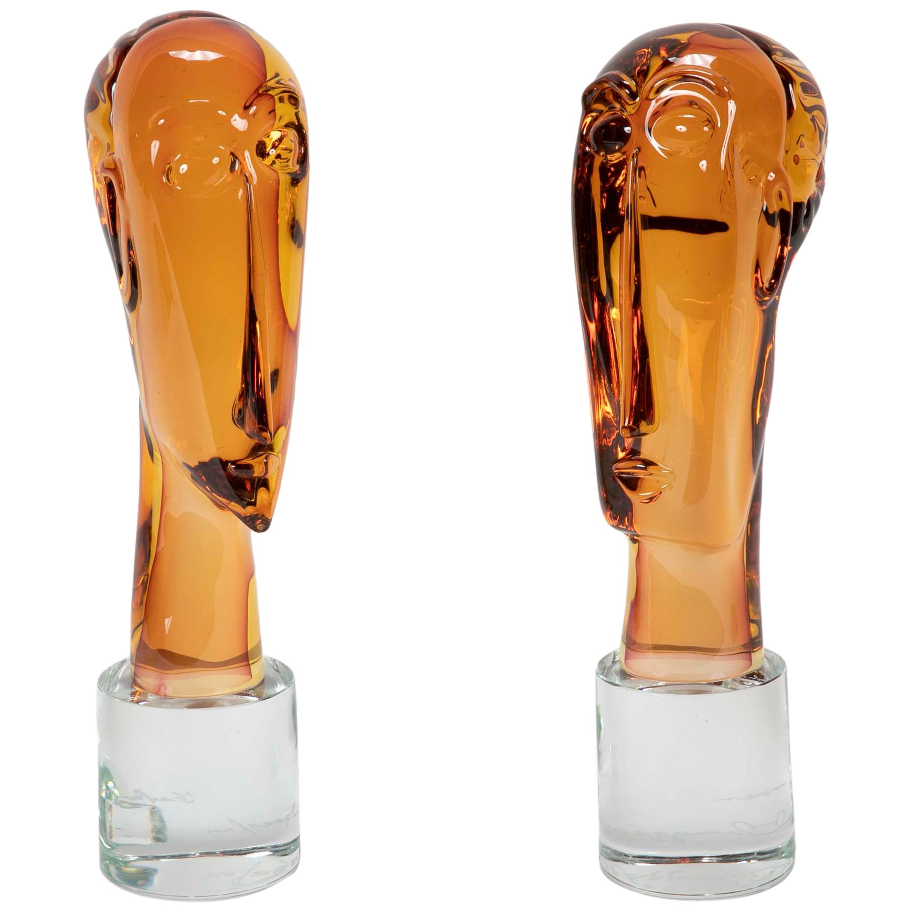 Homage to Amedeo Modigliani Pair of Murano Glass Figures