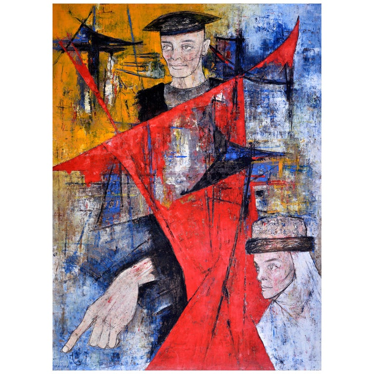 Homage to Buffet, Man and Woman Wearing Hats on Blue, Yellow and Red, circa 1964 For Sale