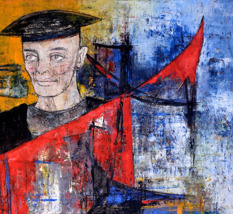 20th Century Homage to Buffet, Man and Woman Wearing Hats on Blue, Yellow and Red, circa 1964 For Sale