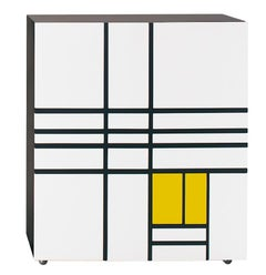 Homage to Mondrian Cabinet by Shiro Kuramata with a Mix of Doors and Drawers