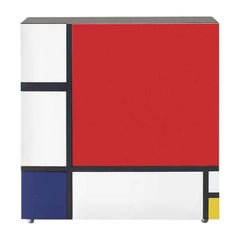 Homage to Mondrian Cabinet by Shiro Kuramata with One Red Door and 4 Drawers