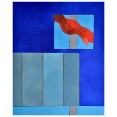 Window to the sea in Blue and Grey Nuances  Abstract Flag in Red, circa 1976