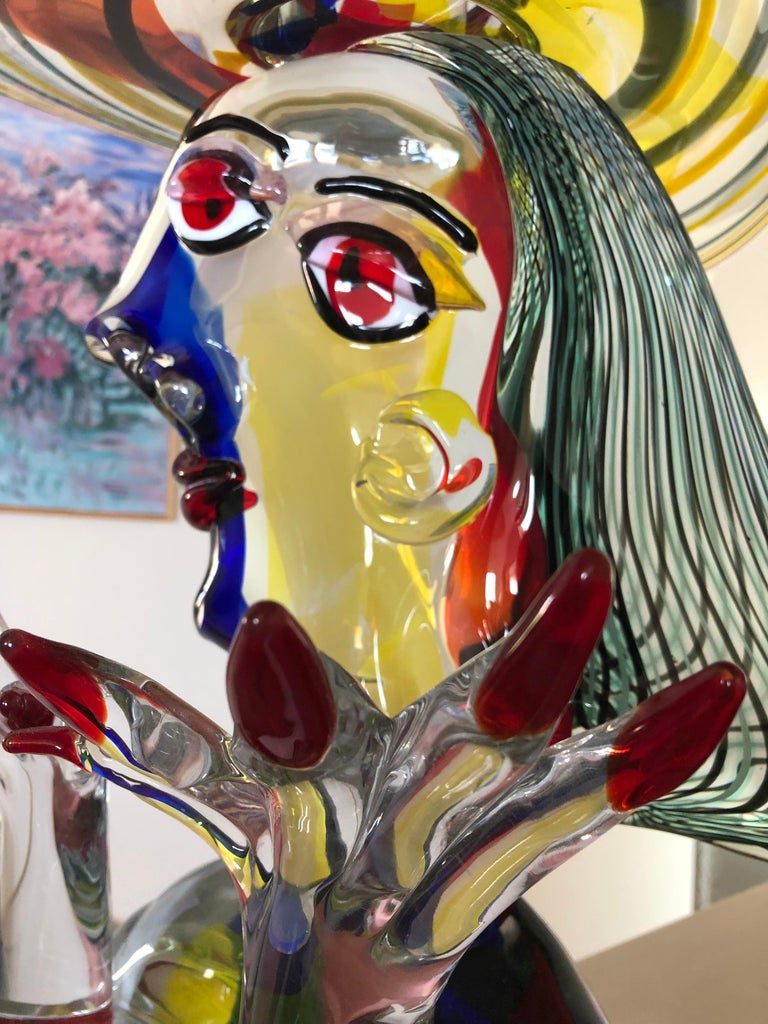 Pablo Picasso gave license to Walter Furlan to use his name in these Murano glass sculptures which interpreted Picasso's paintings during his Cubic period.  Homage To Picasso 22