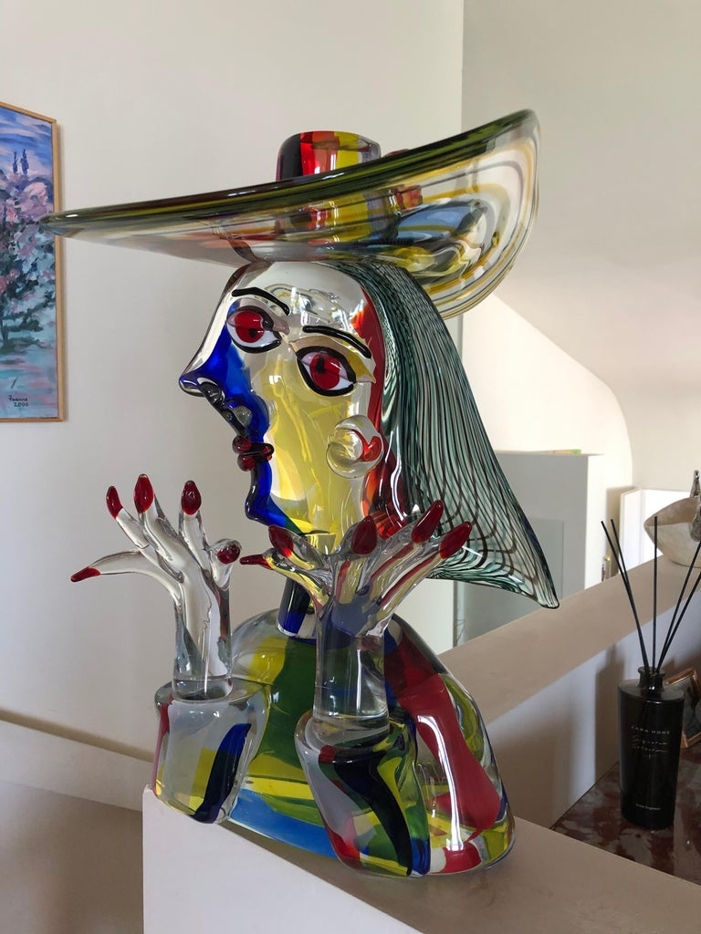 Mid-Century Modern Homage to Picasso Murano Sculpture by Walter Furlan