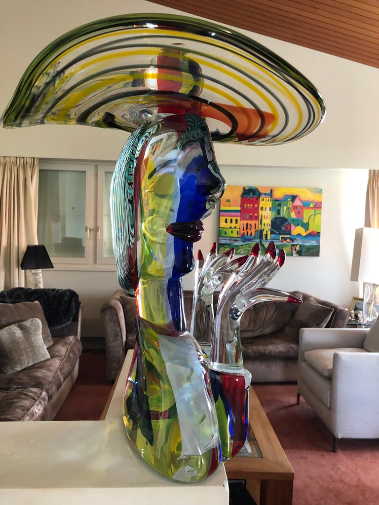 Hand-Crafted Homage to Picasso Murano Sculpture by Walter Furlan