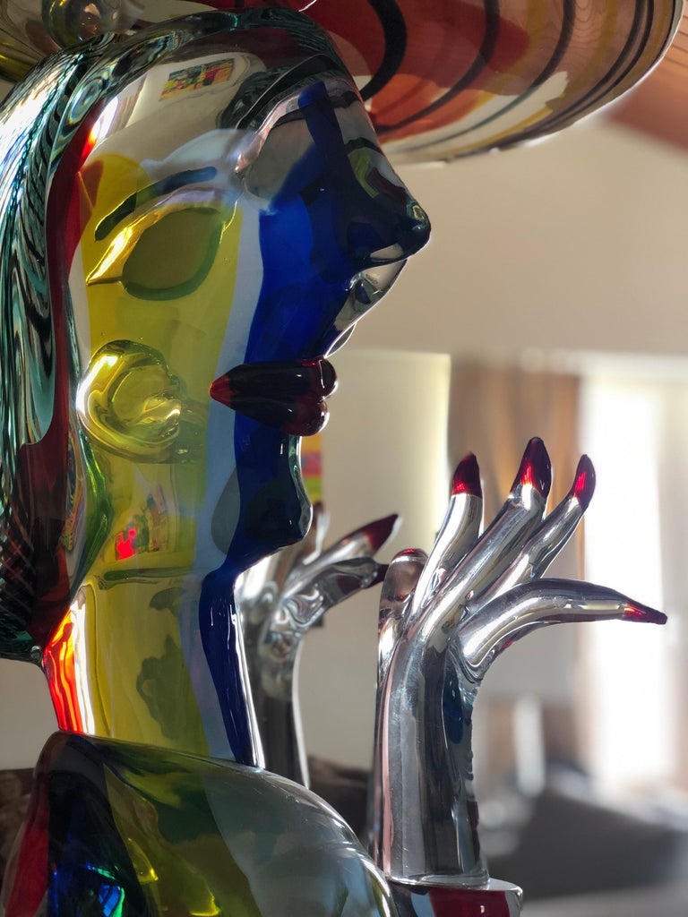 Late 20th Century Homage to Picasso Murano Sculpture by Walter Furlan