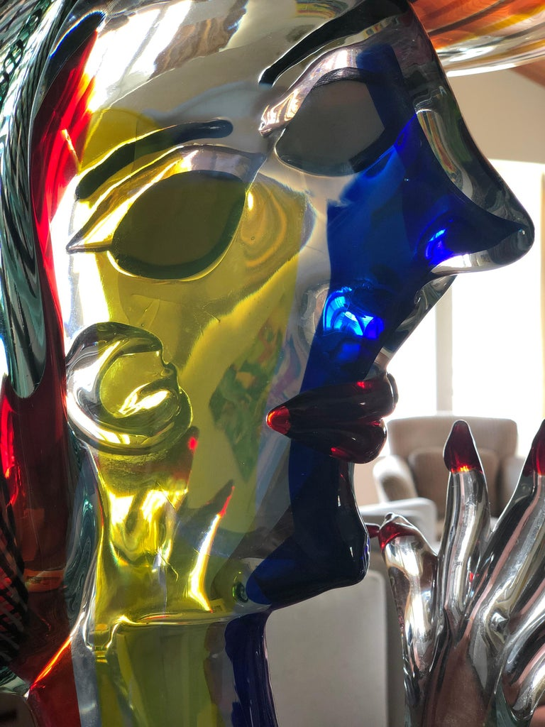 Art Glass Homage to Picasso Murano Sculpture by Walter Furlan