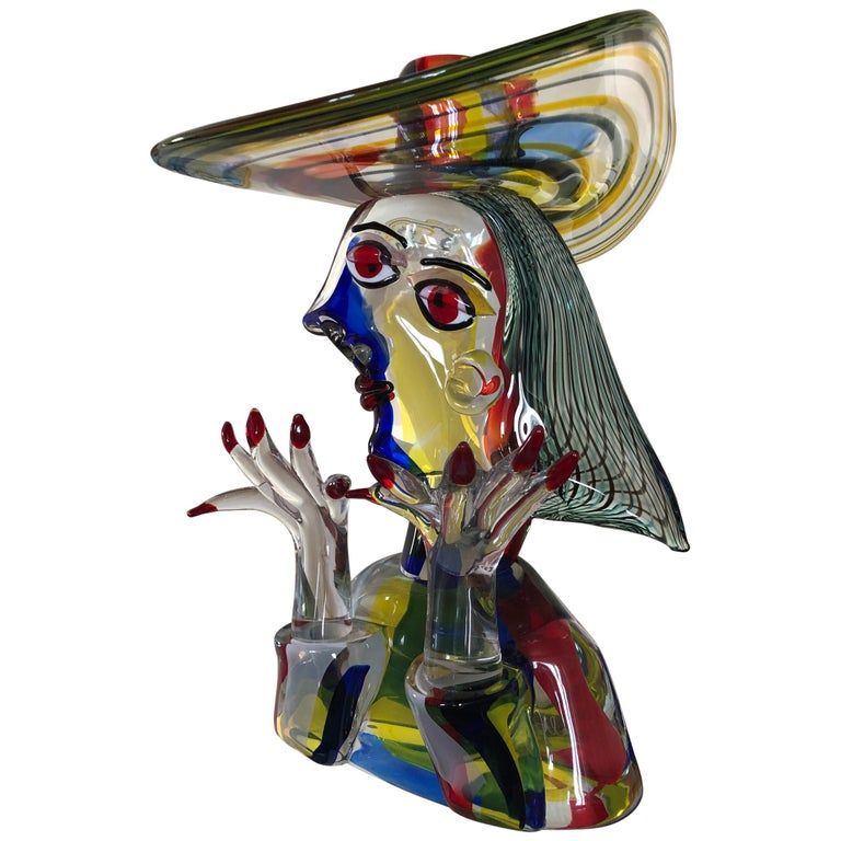 Homage to Picasso Murano Sculpture by Walter Furlan